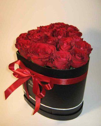Box srce sa crvenim ružama
