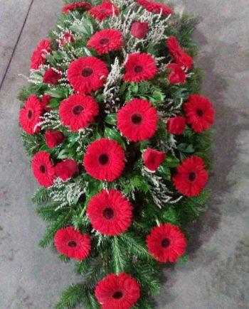 Suza sa crvenim gerberima i ružom