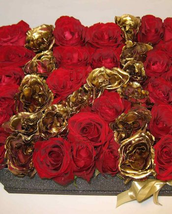Box kocka sa crvenim i zlatnim ružama