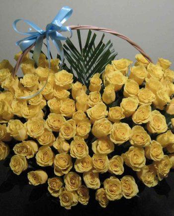Korpa srce sa 101 žutom ružom