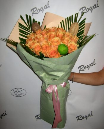 Buket sa narandžastim ružama