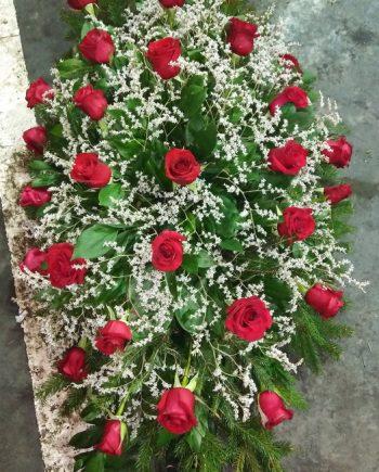 Suza sa crvenim ružama