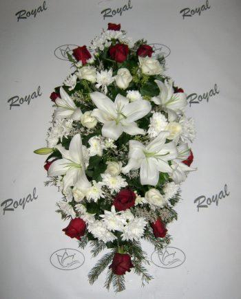 Suza sa crvenom i belom ružom, ljiljanom i hrizantemom