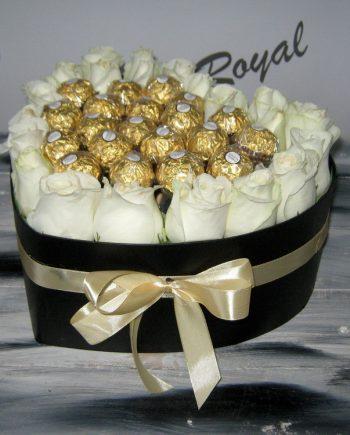 Box of flowers sa ružom i ferrero rocher 475