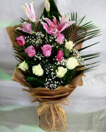 Buket sa ljiljanom i ružama 482