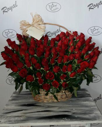 Korpa srce sa 101 ružom 490