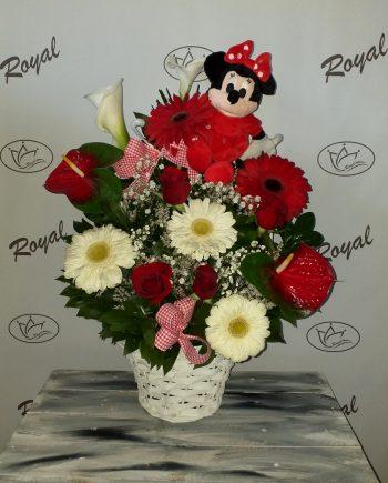 Korpa sa ružom, gerberom, kalom i anturijumom 491