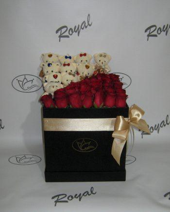 Box of flowers sa ružom i medom 547