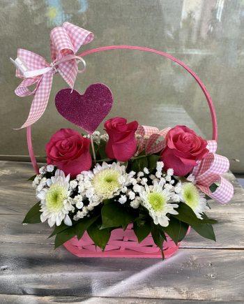 Korpa sa ružom i hrizantemom 563